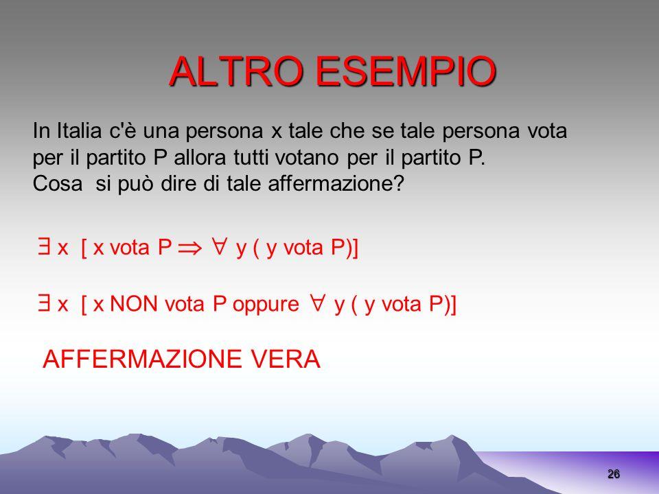 ALTRO ESEMPIO  x [ x vota P   y ( y vota P)]